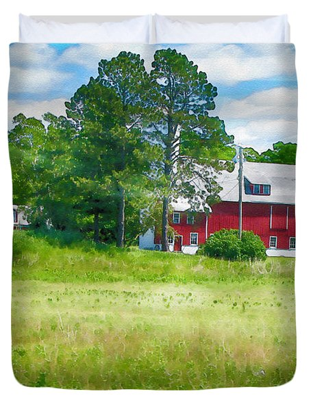 Red Barn Duvet Cover by Erika Weber