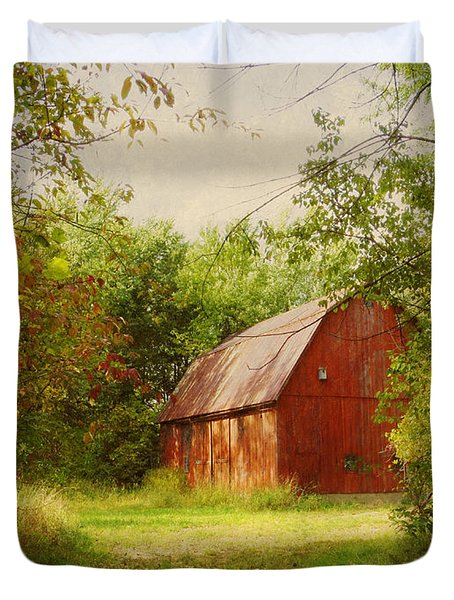 Red Barn In The Woods Duvet Cover