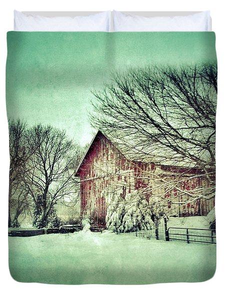 Red Barn In Winter Duvet Cover by Jill Battaglia