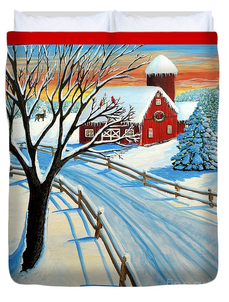 Red Barn In Winter Duvet Cover by Patricia L Davidson