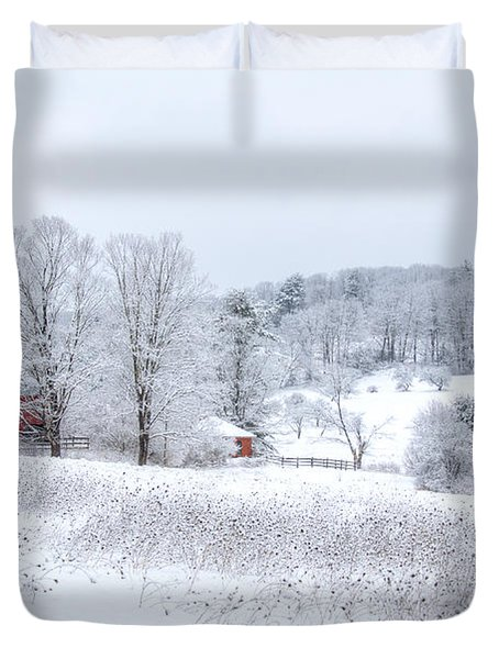 Red Barn In Winter Wonderland Duvet Cover by Donna Doherty