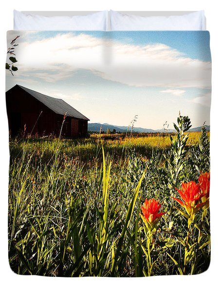 Duvet Cover featuring the photograph Red Barn by Meghan at FireBonnet Art