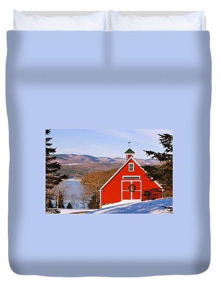Red Barn On Newfound Lake Duvet Cover
