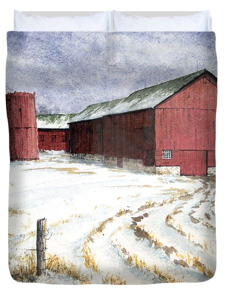 Red Barn On Rt. 49 Duvet Cover