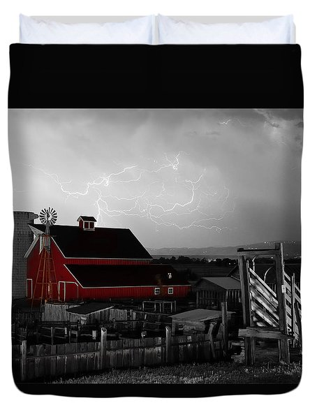 Red Barn On The Farm And Lightning Thunderstorm Bwsc Duvet Cover by James BO  Insogna