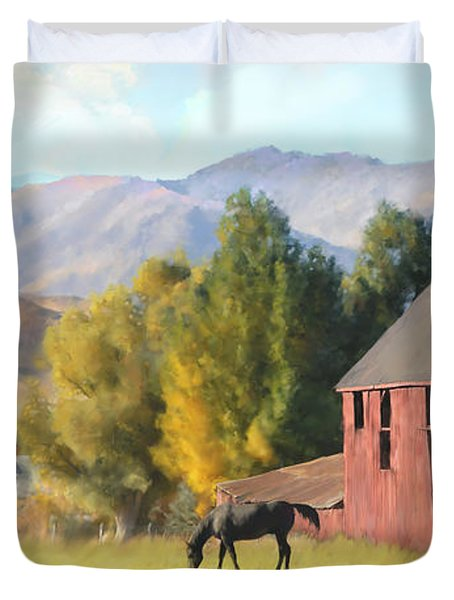 Red Barn Duvet Cover by Rob Corsetti