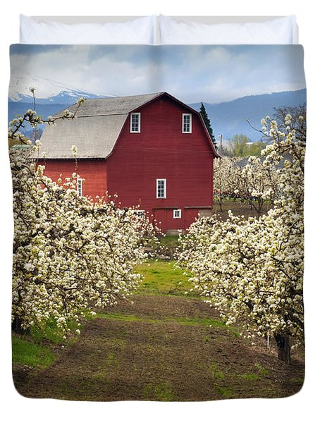 Red Barn Spring Duvet Cover by Mike  Dawson