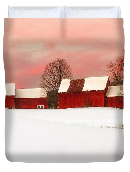 Red Barn Sunset Duvet Cover