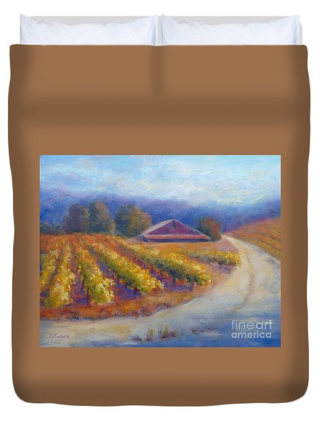 Red Barn Vineyard Duvet Cover
