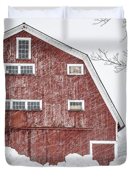 Red Barn Whiteout Duvet Cover