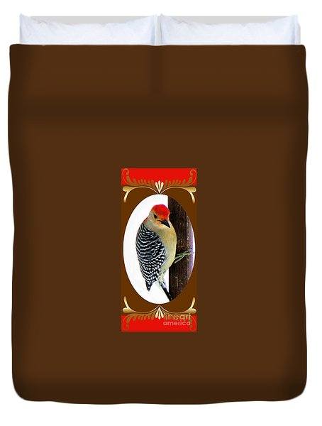 Duvet Cover featuring the photograph Red-bellied Woodpecker Framed by Janette Boyd