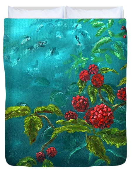 Red Berries In Blue Green Painting Duvet Cover