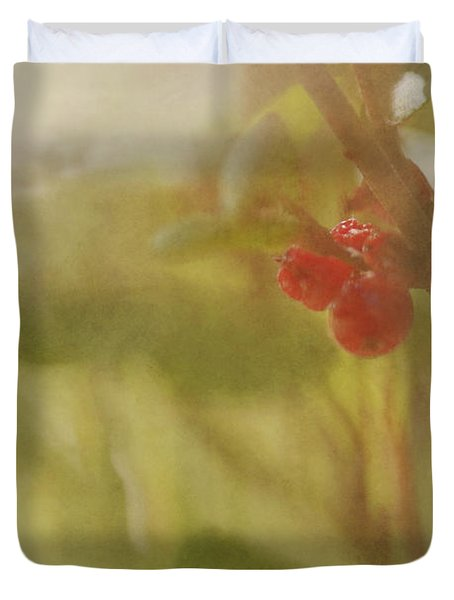 Red Berries Of The Bog Cranberry Duvet Cover by Roberta Murray