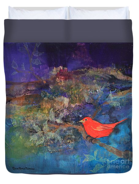 Red Bird Duvet Cover by Robin Maria Pedrero