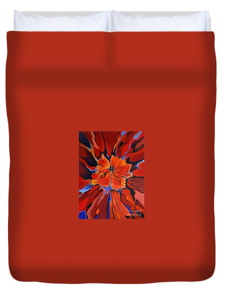 Red Bloom Duvet Cover by Alison Caltrider