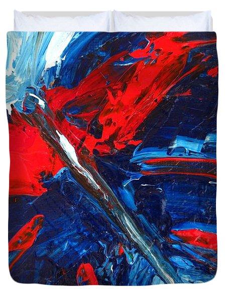 Red Blue Butterfly Duvet Cover