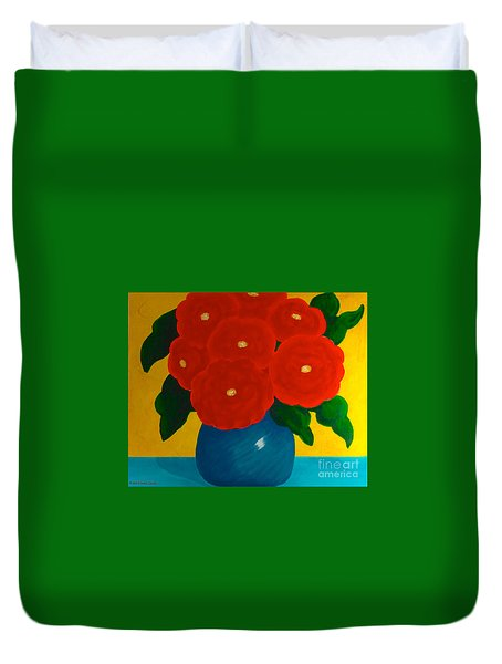 Duvet Cover featuring the painting Red Bouquet by Anita Lewis