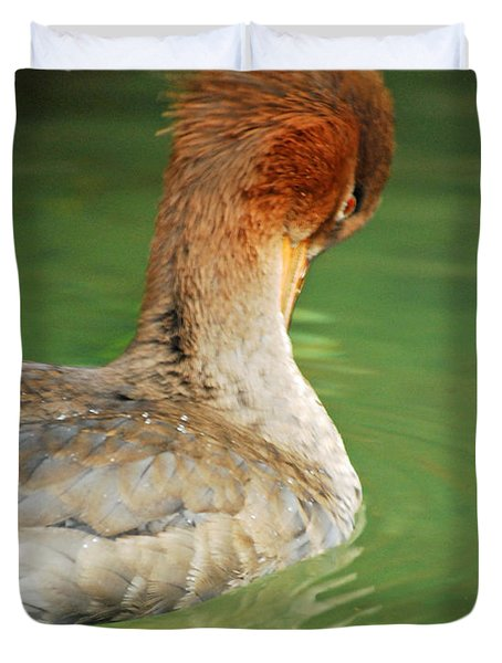 Duvet Cover featuring the photograph Red Breasted Merganser by Maggy Marsh