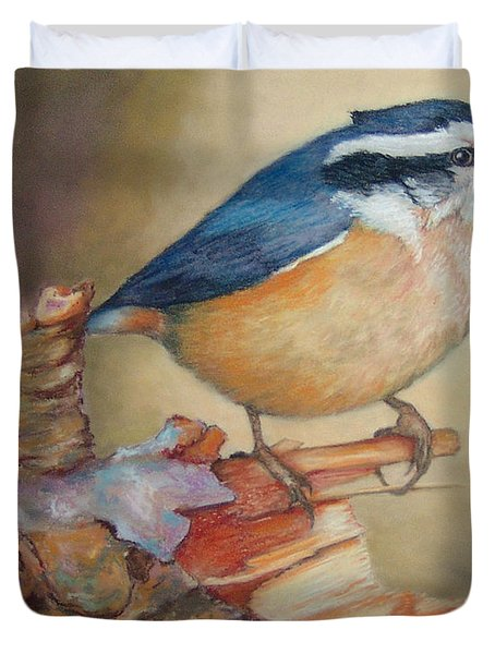 Red-breasted Nuthatch Bird Duvet Cover