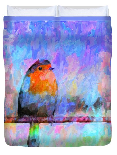Red Breasted Robin Duvet Cover by Kenny Francis