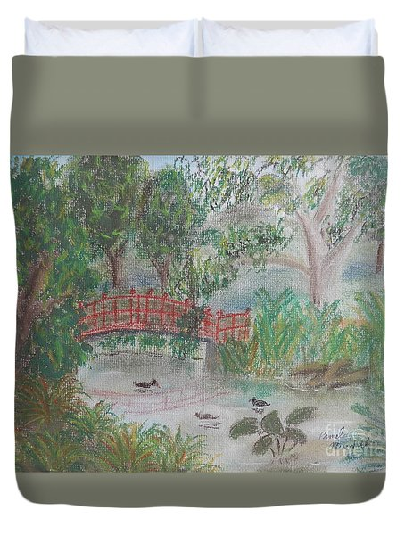 Red Bridge At Wollongong Botanical Gardens Duvet Cover