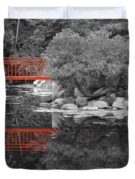 Red Bridge Black And White Duvet Cover