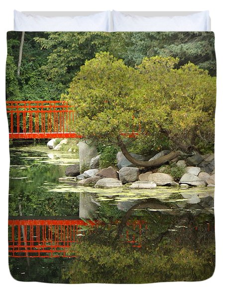 Red Bridge Close Reflection Duvet Cover