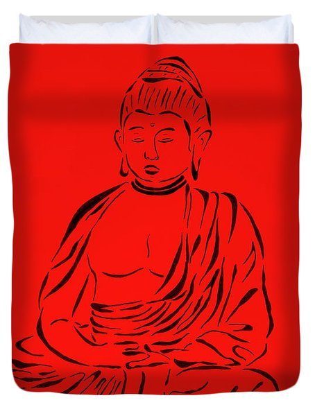 Red Buddha Duvet Cover by Pamela Allegretto