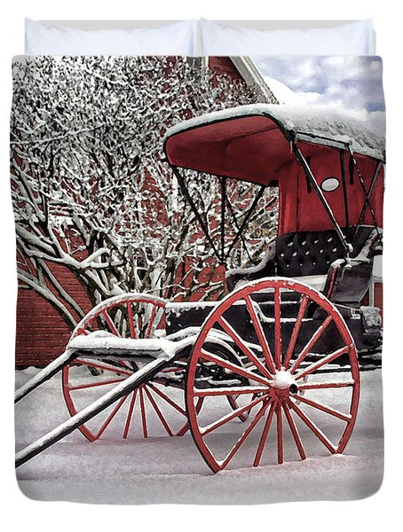 Duvet Cover featuring the photograph Red Buggy At Olmsted Falls - 1 by Mark Madere