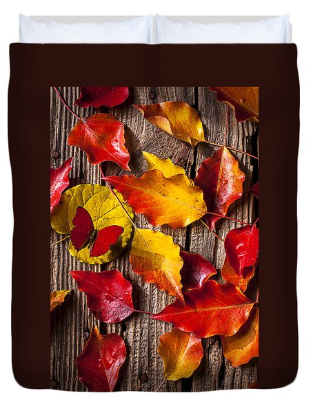 Red Butterfly In Autumn Leaves Duvet Cover by Garry Gay