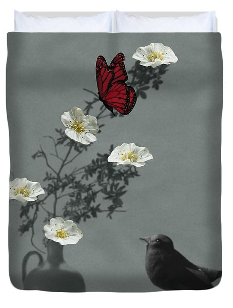 Red Butterfly In The Eyes Of The Blackbird Duvet Cover by Barbara St Jean