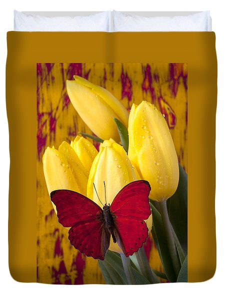 Red Butterfly Resting On Tulips Duvet Cover by Garry Gay