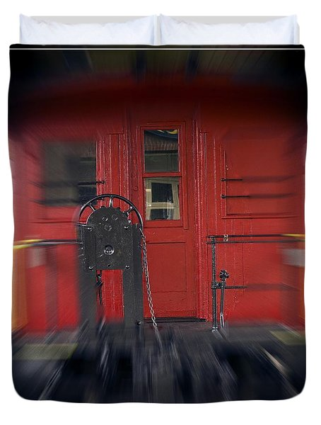 Red Caboose Duvet Cover by Edward Fielding