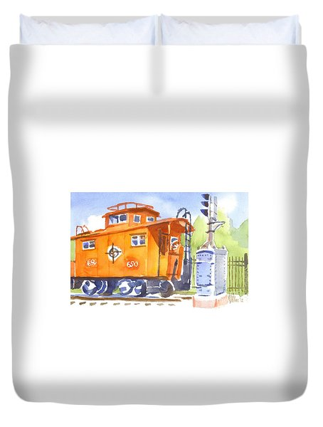 Red Caboose With Signal  Duvet Cover by Kip DeVore