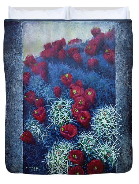 Duvet Cover featuring the painting Red Cactus by Rob Corsetti