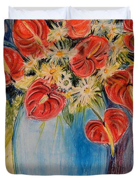 Red Calla Lilies Duvet Cover by Caroline Street