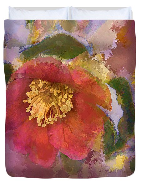 Red Camelia In A Winter Coat Duvet Cover
