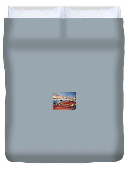 Red Canoe Sunset Duvet Cover