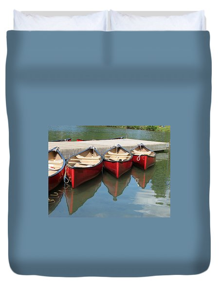 Red Canoes Duvet Cover