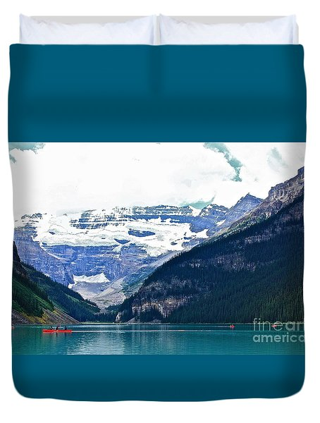 Red Canoes Turquoise Water Duvet Cover