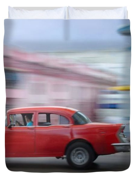 Red Car Havana Cuba Duvet Cover