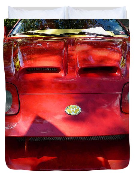 Red Car In Dappled Sunshine Duvet Cover by Susan Savad