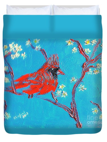 Red Cardinal Spring Duvet Cover by Richard W Linford