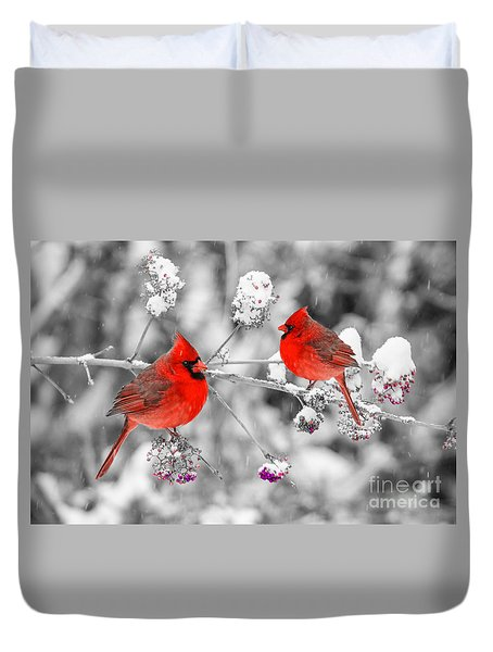 Red Cardinals In The Snow Duvet Cover