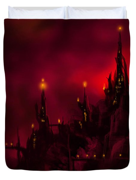 Red Castle Duvet Cover