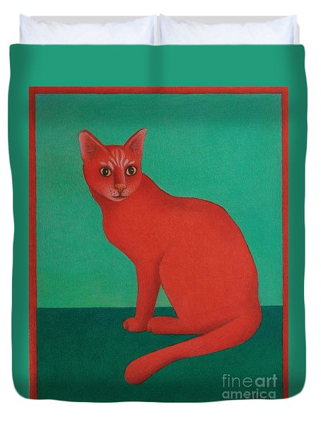 Duvet Cover featuring the painting Red Cat by Pamela Clements