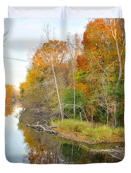 Duvet Cover featuring the photograph Red Cedar Fall Colors by Lars Lentz