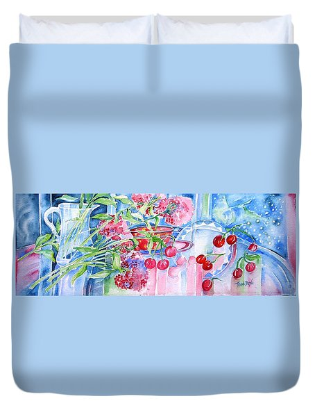Red Cherries And Sweet William Duvet Cover by Trudi Doyle