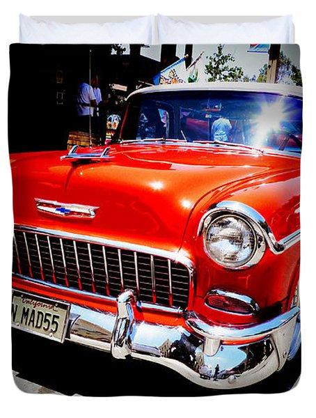 Red Chevrolet Bel Air Duvet Cover by Nina Prommer