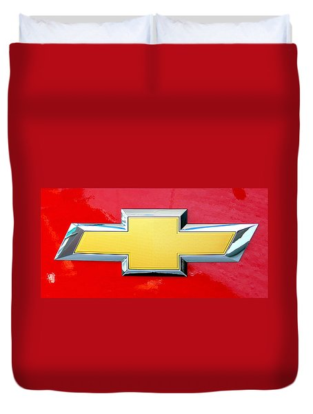Red Chevy Bowtie Duvet Cover
